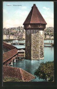 AK Luzern, Wasserturm und Kapellbrücke