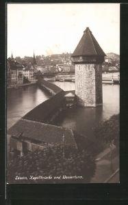 AK Luzern, Kapellbrücke und Wasserturm