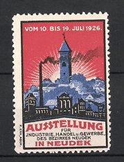 Reklamemarke Neudek, Ausstellung für Industrie, Handel & Gewerbe 1926, Fabriken am Stadtrand