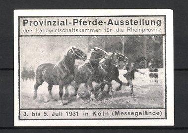 Reklamemarke Köln, Provinzial-Pferde-Ausstellung 1931, Pferde werden für Auktion vorgeführt