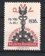 Reklamemarke Prag, PVV Mustermesse 1926, Zahnrad & Hermesstab