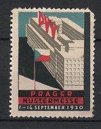 Reklamemarke Prag, Mustermesse PVV 1930, Ausstellungsgebäude