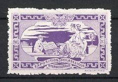 Reklamemarke Paris, Exposition Philatelique Internationale 1913, Knabe mit Briefmarken-Album & hübsche Frau, lila