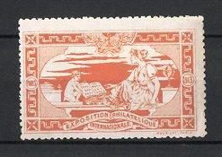 Reklamemarke Paris, Exposition Philatelique Internationale 1913, Knabe mit Briefmarken-Album & hübsche Frau, orange