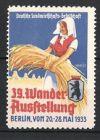 K�nstler-Reklamemarke Warlich, Berlin, 30. Wander-Ausstellung 1933, B�uerin mit Getreide, Berliner Wappen