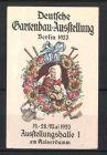 Reklamemarke Berlin, Deutsche Gartenbau-Ausstellung 1933, B�uerin im Blumenkranz