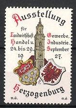 Reklamemarke Herzogenburg, Ausstellung für Landwirtschat, Gewerbe, Handel & Industrie, Turm und Wappen
