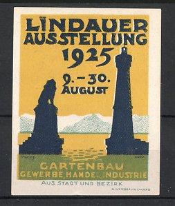 Reklamemarke Lindau, Ausstellung für Gartenbau, Gewerbe, Handel & Industrie 1925, Hafeneinfahrt mit Leuchtturm & Statue