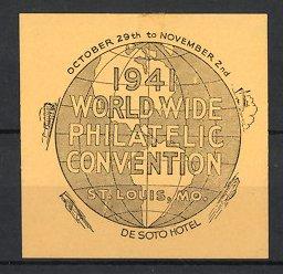 Reklamemarke St. Louis, MO, 1941 Worldwide Philatelic Convention, Globus mit Auto, Flugzeug, Schiff & Lokomotive