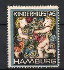 Reklamemarke Hamburg, Kinderhilfstag. Putten mit Blumen & Schmetterlingen