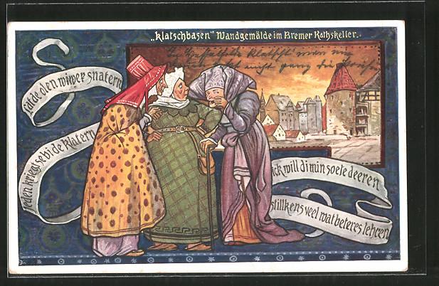 AK Bremen, Gasthaus Ratskeller, Wandgemälde