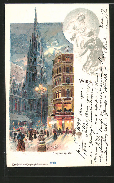 Künstler-Lithographie Emil Czech: Wien, Stephansplatz im Mondschein
