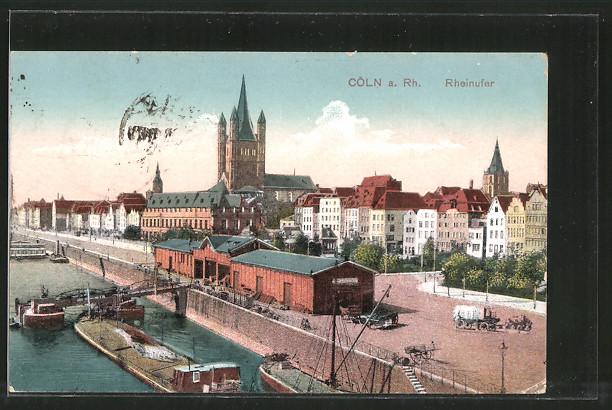 AK Köln, Lagerhaus am Rheinufer