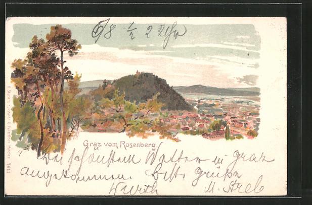 Künstler-Lithographie Emil Czech: Graz, gesehen vom Rosenberg