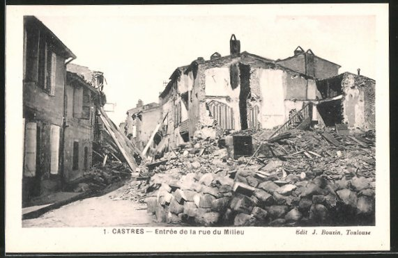 AK Castres, Zerstörte Häuser nach Hochwasser, Entrée de la rue du Milieu