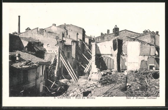 AK Castres, Zerstörte Häuser nach Hochwasser, Rue du Milieu