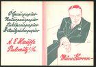 K�nstler-Klapp-AK Pulsnitz, Reklame f�r Pauspapiere der Marke Architekt d. Firma A. Hauffe, Herr im Anzug