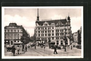 AK Brünn / Brno, Blick vom Freiheitsplatz zum Deutschen Haus