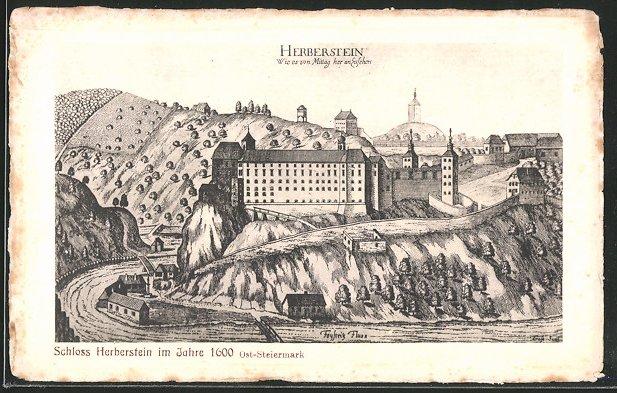 Künstler-AK Stubenberg, Schloss Herberstein Anno 1600