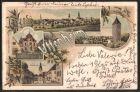 Lithographie Uffenheim, Synagoge, W�rzburger Thor, B�rgerturm