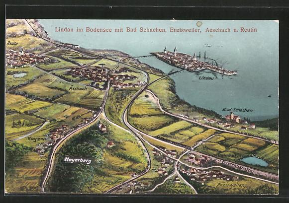 AK Lindau, Gesamtansicht aus der Vogelschau mit Bad Schachen und Enzisweiler