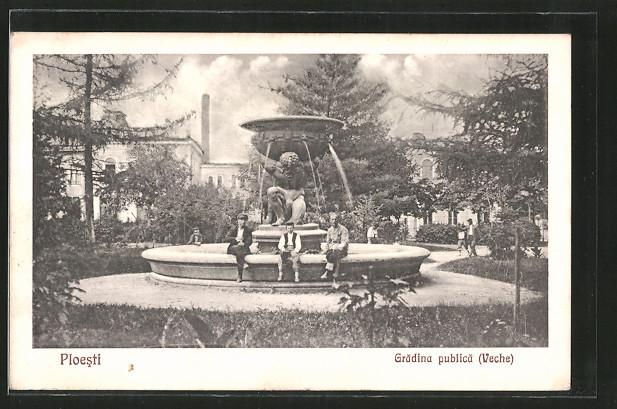 AK Ploesti, Gradina publica (Veche), Menschen an einem Brunnen
