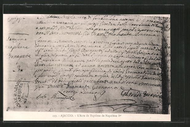 AK Ajaccio, L'Acte de Baptême de Napoléon Ier, Taufe von Bonaparte