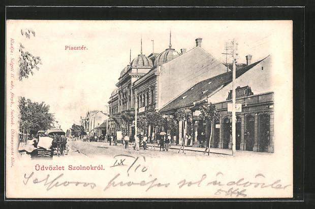 AK Szolnok, Piacztér, Pferdekutsche