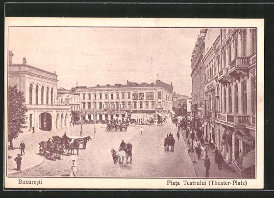 AK Bukarest / Bucuresti, Piata Teatrului, Theater Platz