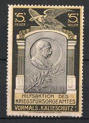Reklamemarke Portrait Kaiser Franz Joseph I. von Österreich, Kriegsfürsorgeamt, Kälteschutz