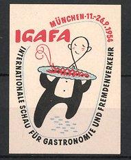 Reklamemarke München, IGAFA Int. Schau für Gastronomie & Fremdenverkehr 1954, Kellner serviert Delikatesse