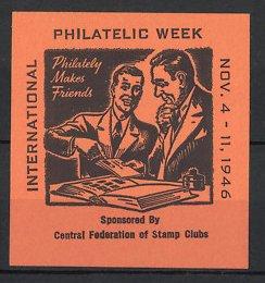 Reklamemarke International Philatelic Week 1946, Philatelisten betrachten Briefmarken