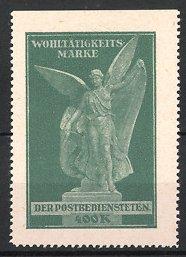 Reklamemarke Wohltätigkeits-Marke der Postbediensteten, Engel-Statue, grün