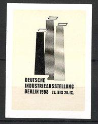 Reklamemarke Berlin, Deutsche Industrie-Ausstellung 1958, Schornsteine