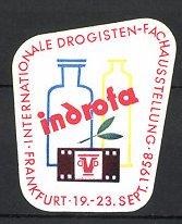 Reklamemarke Frankfurt / Main, Int. Drogisten Fachausstellung 1958, Gefässe & Fotofilm