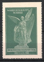 Reklamemarke Wohltätigkeits-Marke der Postbeldiensteten, Engel - Statue