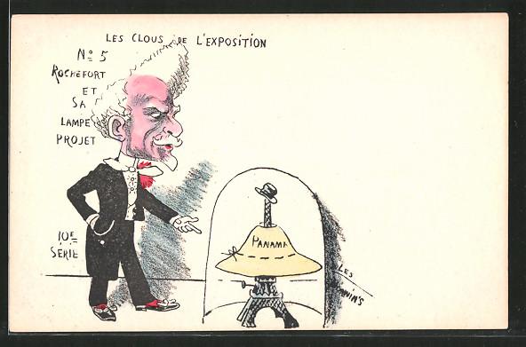 Künstler-AK sign. Philippe Norwins: Karikatur von Henri Rochefort