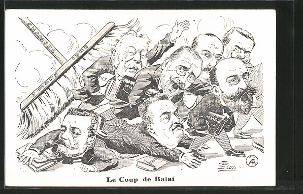 AK Le Coup de Balai, Chambre 7 Mars 1906, franz. Politiker, Karikaturen