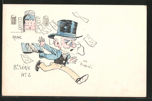 Künstler-AK sign. Philippe Norwins: Karikatur eines franz. Politikers