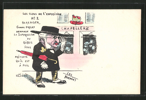 Künstler-AK sign. Philippe Norwins: Les Clous de l'Exposition, Karikatur