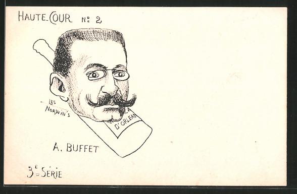 Künstler-AK sign. Philippe Norwins: Karikatur von A. Buffet