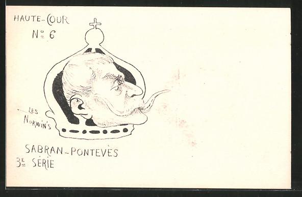 Künstler-AK sign. Philippe Norwins: Karikatur von Sabran-Pontevès