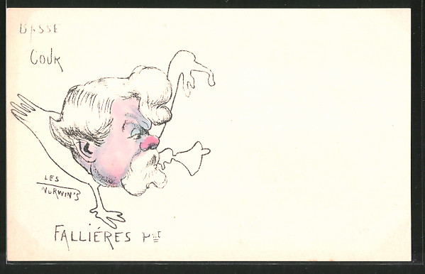 Künstler-AK sign. Philippe Norwins: Karikatur von Fallières
