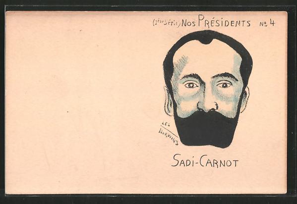Künstler-AK sign. Philippe Norwins: Karikatur von Sadi-Carnot