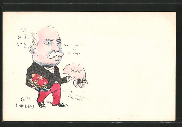 Künstler-AK sign. Philippe Norwins: Karikatur von General Lambert mit Toupet