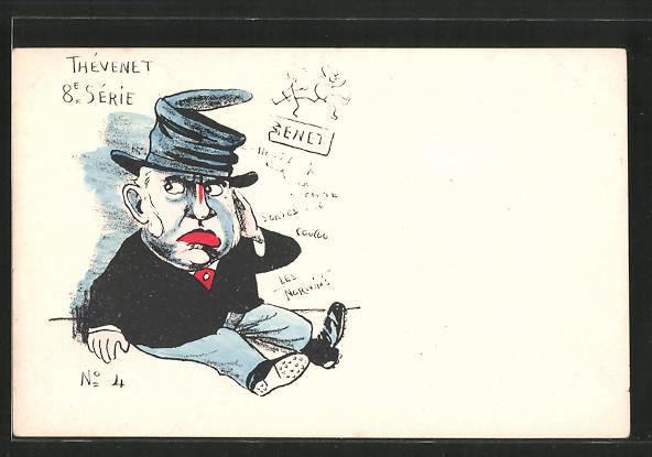 Künstler-AK sign. Philippe Norwins: Karikatur von Thévenet