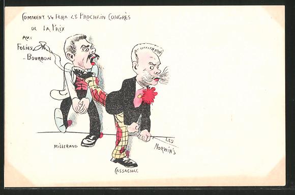 Künstler-AK sign. Philippe Norwins: Karikatur von Millerand und Cassagnac