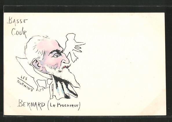 Künstler-AK sign. Philippe Norwins: Karikatur von Bernard