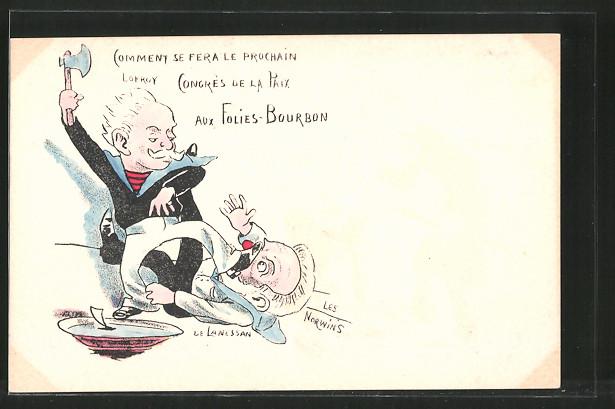 Künstler-AK sign. Philippe Norwins: Karikatur von Lokroy und de Lanessan