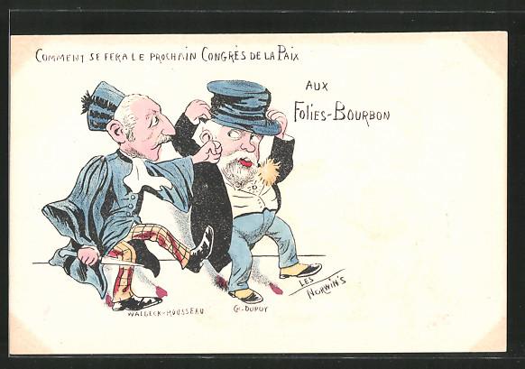 Künstler-AK sign. Philippe Norwins: Karikatur von Waldeck-Rousseau und Dupoy